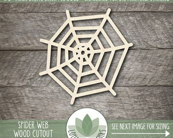 Spider Web Laser Cut Wood Shape, DIY Halloween Decor, Wood Spider Web, DIY Craft Supply, Spider Web Shape