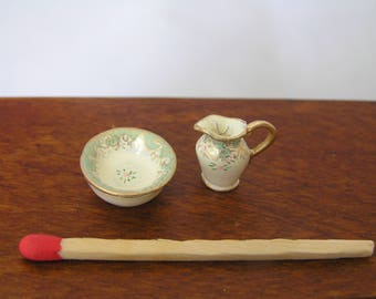 Hand-Painted Dollhouse Miniature 1/24th Scale Jug & Bowl - Pale Green