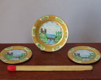 Hand-Painted Dollshouse Miniature Plate Set - Buttermilk