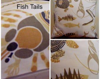 Fish Tail.Pillow Covers.Turtle Pillow.Crab Pillows.Fish Pillows.Slip Covers.Sea Life Pillow Covers.Ocean LIfe Toss Pillows.Home Decor Pillow