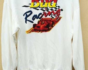 Vintage Budweizer sweatshirt / Vintage Bud Racing crewneck / Vintage Bud Racing Jumper