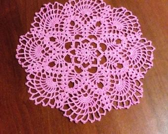 Pink crochet doily handmade
