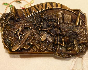 Vintage Belt Buckle - Hawaii Themed Solid Brass Buckle - Registered Collection -Arroyo Grando Buckle Co - Gift For Him -