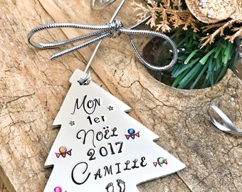 Hand Stamped Personalised Christmas Tree Decoration, Baby's First Christmas French, Custom Tree Decoration