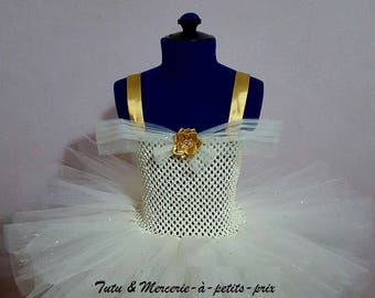 "sale 35 instead of 45 euros. Special ""Diamond"" ivory glitter gold tutu dress Christmas girl 3/4 years"