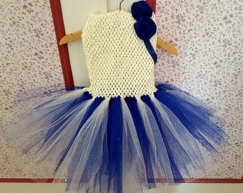 sale 11.50 instead of 15.Robe ivory tutu glitter/Royal Blue 2/3 years with blue bow headband