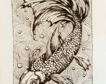 Koi Fish Original Illustration in Ink