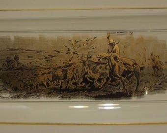 Charles M Russell Vintage Glass Tray of a Cattle Drive