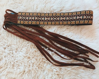1970's Embroidered Suede Leather Belt With Fringe, By Landlubber SMALL
