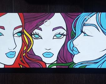"Original Moon Girls Painting - Mixed Media Acrylic Ink on Wood 31x8.5"""