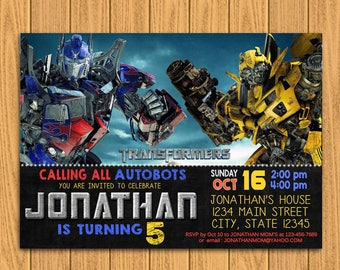 Transformers, Transformers Birthday, Transformers Invitation, Transformers Party, Transformers Birthday Invitation, Transformers Invite