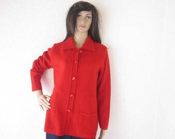 Vintage 80s wool cardigan knit jacket wool oversize