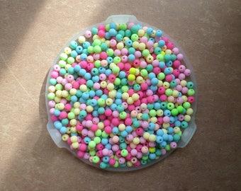 200 beads shape round mix color soft Matt effect