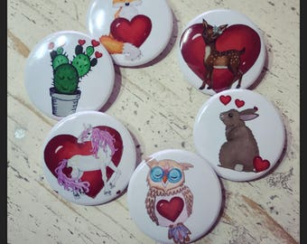 valentines pin, valentines day pin, button pins, valentine pin, pin buttons, cactus pin, fox pin, fox button, cactus button, owl pin, animal