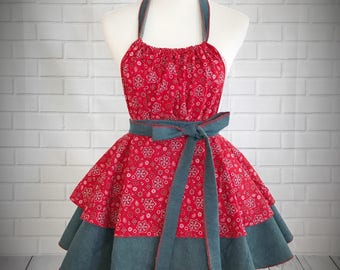 Retro Pinup shabby chic country style apron made with red bandana print cotton and denim // Great gift for bridal shower or hostess gift