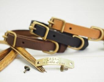 Dog Collar, Small Dog Collar, Collar Leather, Leather Collar, Personalized Collar, Cat Collar, Personalized Cat Collar, Dog Name Plate