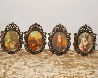 Metal framed victorian prints,ornate,Made in Italy,petite frames,set of ,filigree frame,oval,wall art,Italian Countryside,lady,gentleman