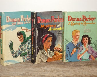 Donna Parker mystery stories book set,Marcia Martin,set of 3,1950s and 1960s,girls books,childrens books,teen books,young readers