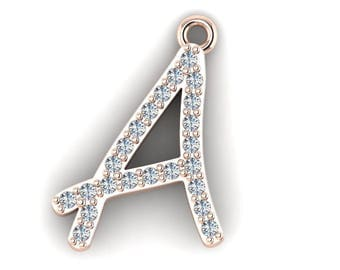 "Initial ""A"" Round Brilliant Cut Diamond Necklace Pendant"