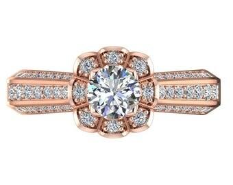 Flower Forever One Moissanite Engagement Ring