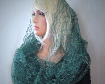 Forest Green Lace Infinity Eternity Veil Mantilla Chapel Veil | Mass Veil | Lace Chapel Veil | Green Veil | Catholic Veil | The Veiled Woman