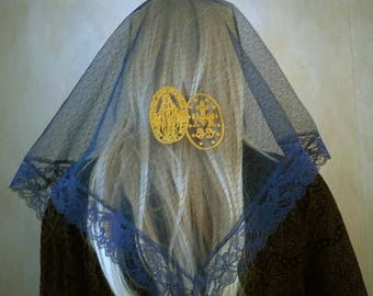 Embroidered Miraculous Medal Gold on Navy Blue Chapel Veil | Mantilla | Free Carry Pouch |  Embroidered Veil | Lace Veil | The Veiled Woman