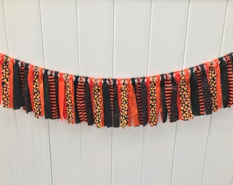 Halloween banner, fabric scrappy banner, black and orange, Halloween decor, candy corn, photo prop, Halloween party banner, fabric banner