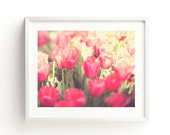 tulip photograph, flower photography, flower printable, red home decor, girls room wall art, tulip print, instant download, botanical art