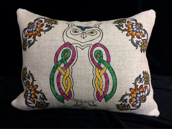 Natural linen pillow cover,  with white Irish linen , block printed decorative cushions