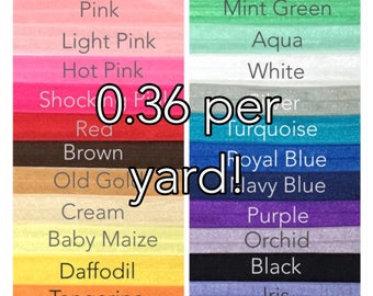 5/8 Solid Color Elastic, Solid Color FOE, FOE Elastic By the Yard, Fold Over Elastic for headband, Solid  Foldover Elastic, FOE Elastic