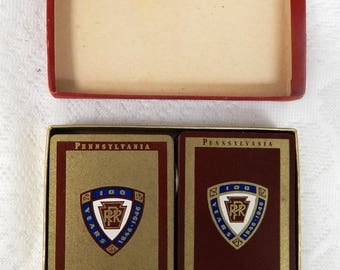 Vintage-1946-Pennsylvania-R-R-Playing-Cards-Double-Deck-in-Box-with-Extra-Cards