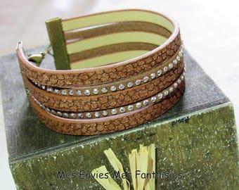 Bracelet cuff ღ brown leather / suede studded ღ Bronze adjustable ღ