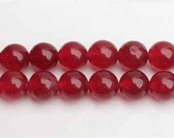 Wine Red Chalcedony beads - 15'' Full Strand Gemstone Chalcedony beads - Genuine Natural Stone bead - 4mm 6mm 8mm 10mm 12mm 14mm - B212