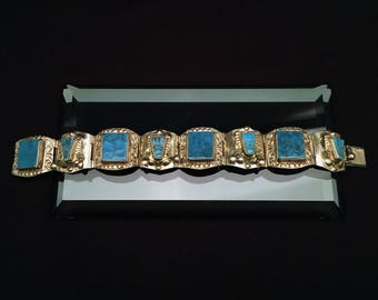 Signed Taxco, Mexico Sterling & Turquoise Pre-Colombian Aztec Warrior Mask Bracelet