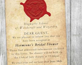 Hogwarts Acceptance Letter - Custom Bridal Shower Invitation - Harry Potter - Potterhead - Harry Potter Wedding - Potter Bridal Shower