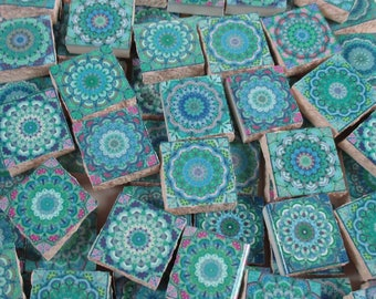 Ceramic Mosaic Tiles - Moroccan Tile  Turquoise Blue Moroccan Medallions Mosaic Tile 60 Pieces - For Mosaic Art / Mixed Media Art/Jewelry