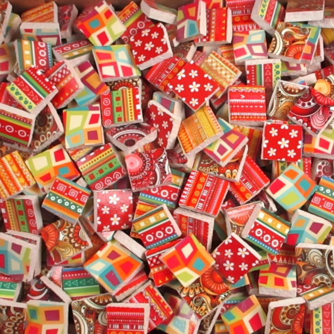 Ceramic mosaic tiles 2 pounds mixed designs patterns red for Craft mosaic tiles bulk