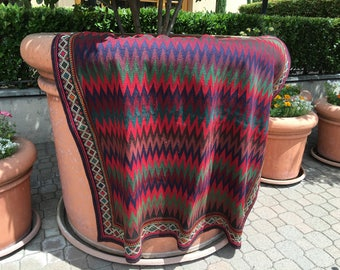 Zig Zag Rug / Vintage Sofra Kilim / Chevron Rug / Square Rugs / Southwestern Rug / Mexican Rug / Flatweave Rug / Aztec Rug / Area Rugs