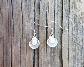 Silver seashell and pearl earrings