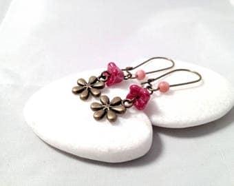 Earrings red flower - Bronze