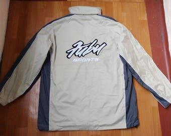 FUBU jacket, nylon vintage Fubu windbreaker, 90s old school hip-hop clothing, 1990s hip-hop, gangsta rap, beige color jersey, size XL