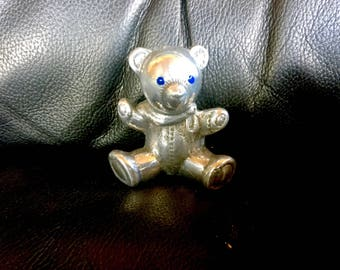 Sitting blue eyed Teddy Bear, Desk Ornament/ Paperweight by CustomMadeCastings
