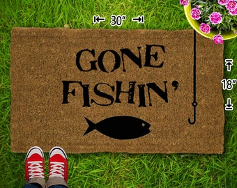 Gone Fishin Coir Doormat - 18x30 - Welcome Mat - House Warming - Mud Room - Gift - Custom