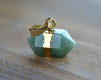 1 - Double Point Green Aventurine Pendant in 24K Gold Plating Double Pencil Pointer Gemstone Jewelry Making Supplies (S022) 50DFL