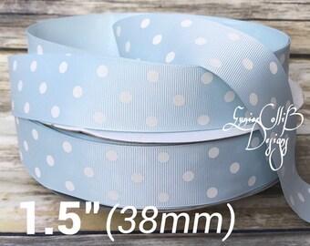 """1.5"""" Light blue and white polka dot grosgrain ribbon"""