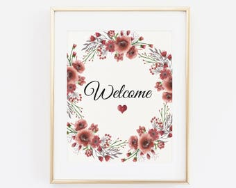 Welcome Wedding Sign, Printable Wedding Print, Floral Burgundy Wedding, Printable Floral wedding sign, Burgundy fall wedding sign
