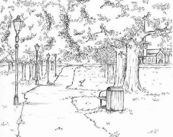 Bunny Park Path A3 Print - Brent Lodge Park, Hanwell Park, Hanwell Zoo, Brent Lodge Park Animal Centre,