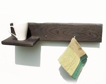 Handmade wooden kitchen shelf & hanger