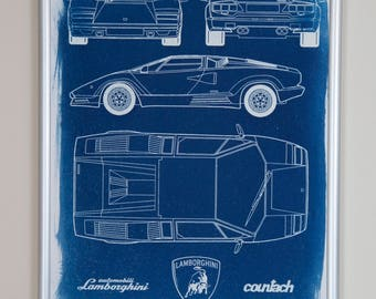 Lamborghini Countach blueprint design A4 hand coated traditionally made cyanotype blueprint free UK delivery!