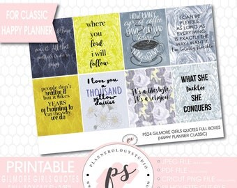 Gilmore Girls Quotes Full Box Printable Planner Stickers (for use with Classic Happy Planner) (JPG/PDF/Silhouette Compatible Cut Files)